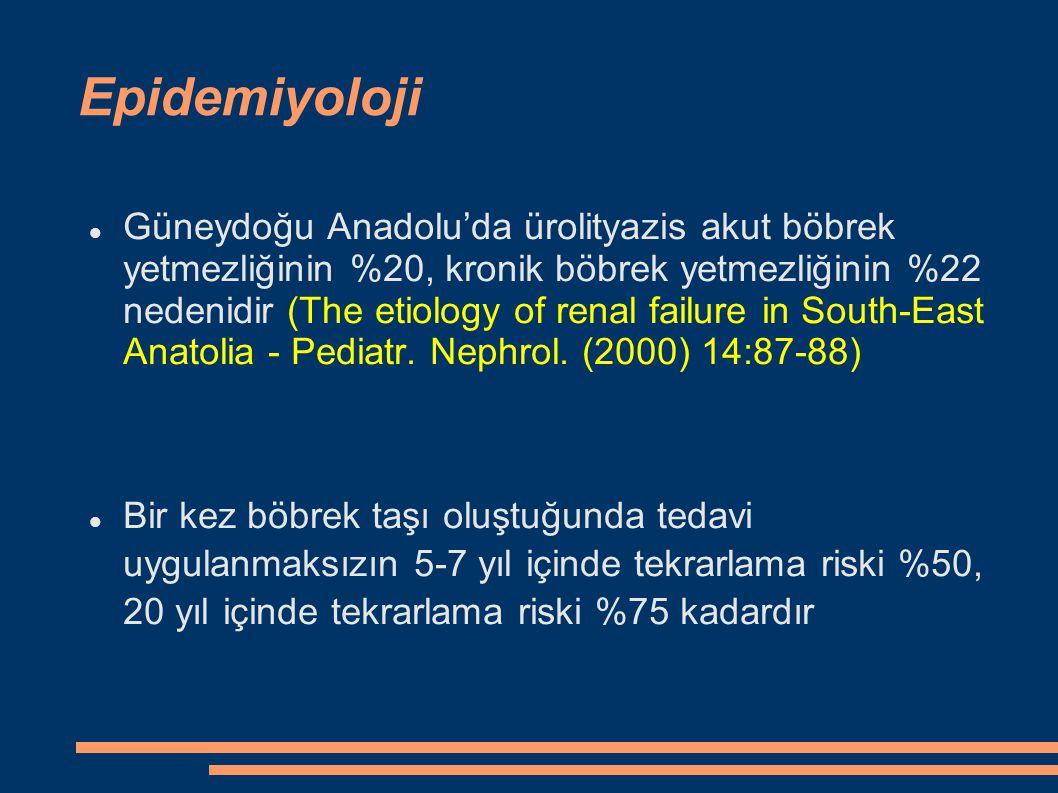 Epidemiyoloji Güneydoğu Anadolu'da ürolityazis akut böbrek yetmezliğinin %20, kronik böbrek yetmezliğinin %22 nedenidir (The etiology of renal failure