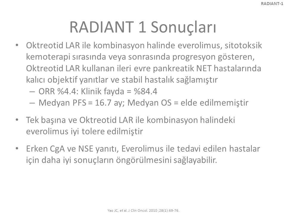 RADIANT 1 Sonuçları Oktreotid LAR ile kombinasyon halinde everolimus, sitotoksik kemoterapi sırasında veya sonrasında progresyon gösteren, Oktreotid L