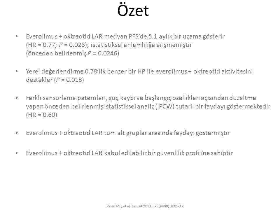 Özet Everolimus + oktreotid LAR medyan PFS'de 5.1 aylık bir uzama gösterir (HR = 0.77; P = 0.026); istatistiksel anlamlılığa erişmemiştir (önceden bel