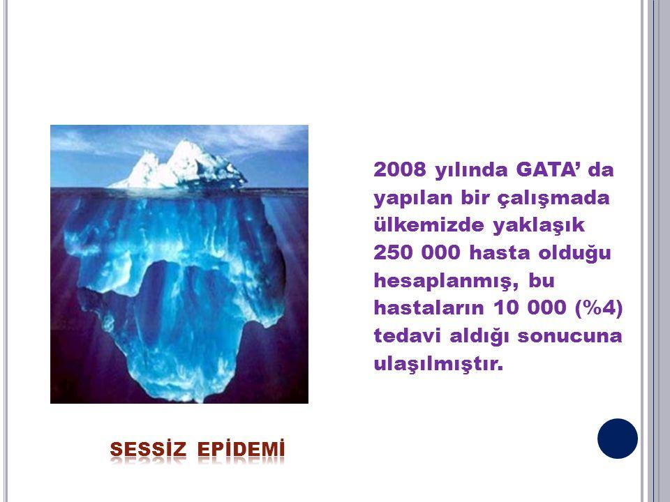 2008 yılında GATA' da yapılan bir çalışmada ülkemizde yaklaşık 250 000 hasta olduğu hesaplanmış, bu hastaların 10 000 (%4) tedavi aldığı sonucuna ulaş