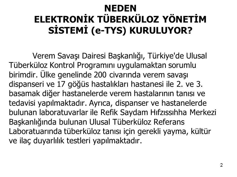 2 NEDEN ELEKTRONİK TÜBERKÜLOZ YÖNETİM SİSTEMİ (e-TYS) KURULUYOR? Verem Savaşı Dairesi Başkanlığı, Türkiye'de Ulusal Tüberküloz Kontrol Programını uygu