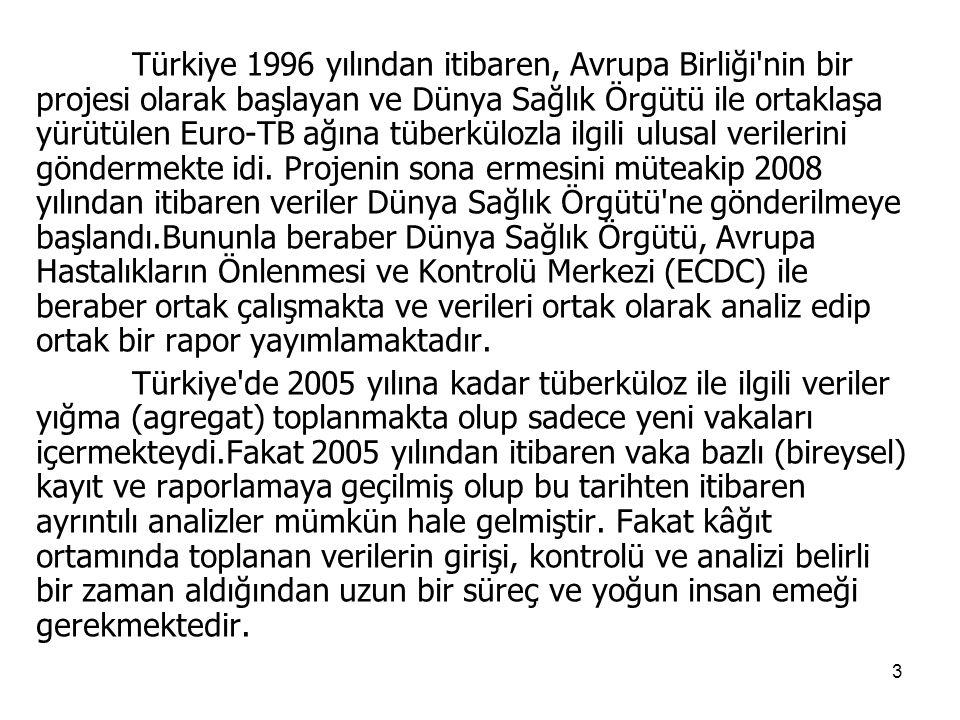 3 Türkiye 1996 yılından itibaren, Avrupa Birliği nin bir projesi olarak başlayan ve Dünya Sağlık Örgütü ile ortaklaşa yürütülen Euro-TB ağına tüberkülozla ilgili ulusal verilerini göndermekte idi.