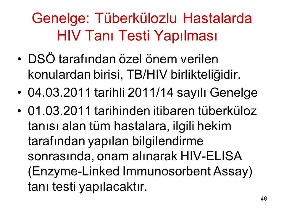 46 Genelge: Tüberkülozlu Hastalarda HIV Tanı Testi Yapılması DSÖ tarafından özel önem verilen konulardan birisi, TB/HIV birlikteliğidir. 04.03.2011 ta