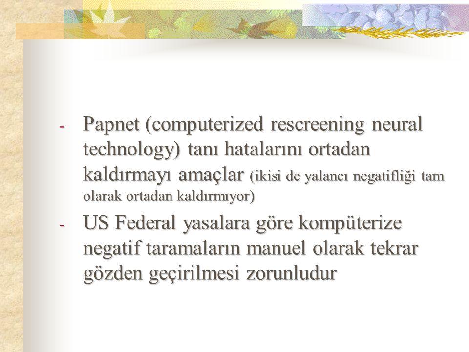 - Papnet (computerized rescreening neural technology) tanı hatalarını ortadan kaldırmayı amaçlar (ikisi de yalancı negatifliği tam olarak ortadan kald