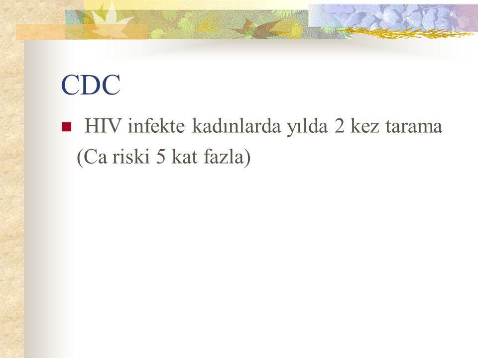 CDC HIV infekte kadınlarda yılda 2 kez tarama (Ca riski 5 kat fazla)