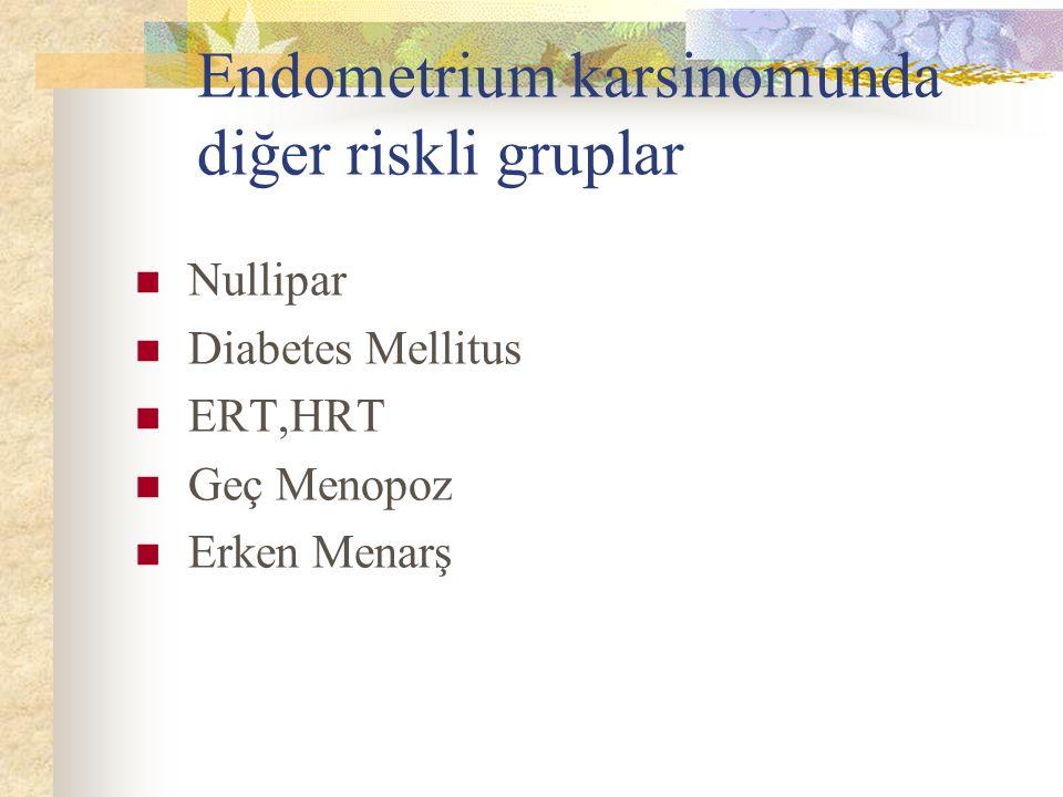 Endometrium karsinomunda diğer riskli gruplar Nullipar Diabetes Mellitus ERT,HRT Geç Menopoz Erken Menarş