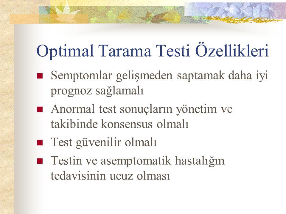 Optimal Tarama Testi Özellikleri Semptomlar gelişmeden saptamak daha iyi prognoz sağlamalı Anormal test sonuçların yönetim ve takibinde konsensus olma