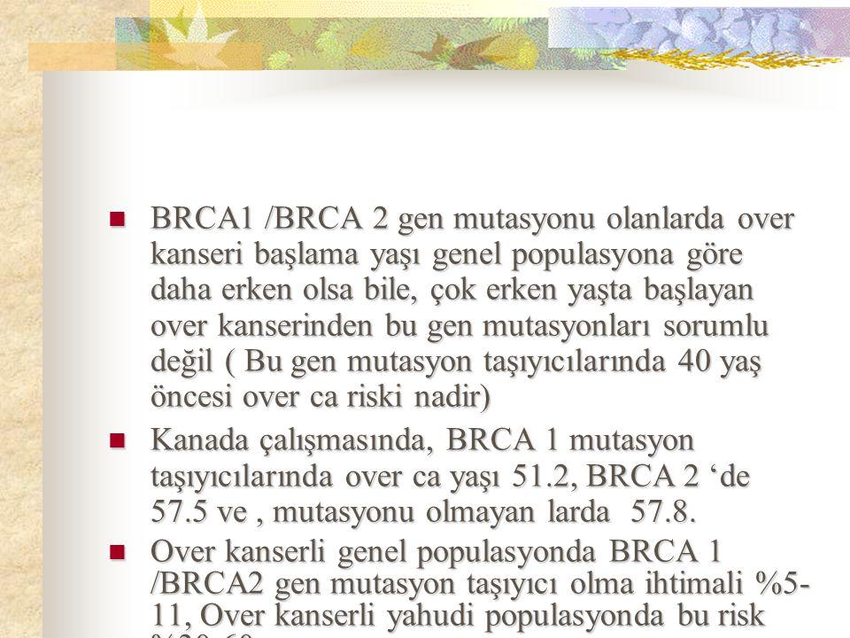 BRCA1 /BRCA 2 gen mutasyonu olanlarda over kanseri başlama yaşı genel populasyona göre daha erken olsa bile, çok erken yaşta başlayan over kanserinden
