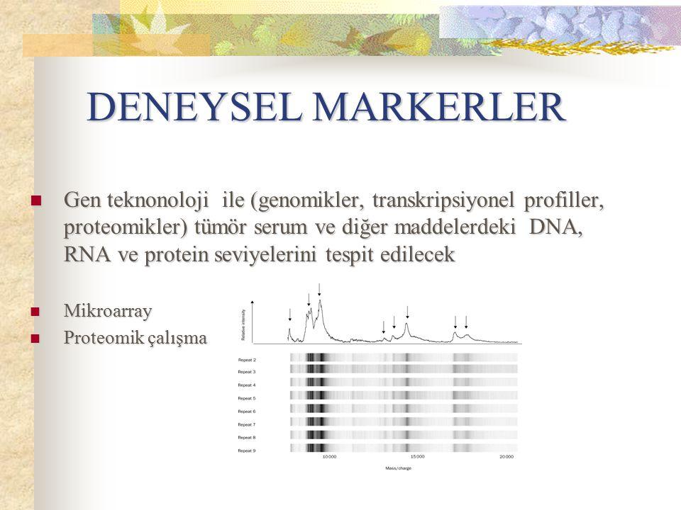 DENEYSEL MARKERLER Gen teknonoloji ile (genomikler, transkripsiyonel profiller, proteomikler) tümör serum ve diğer maddelerdeki DNA, RNA ve protein se