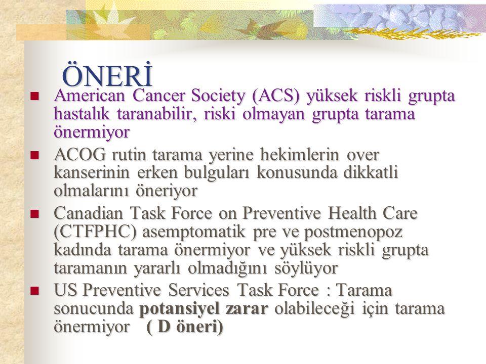 ÖNERİ American Cancer Society (ACS) yüksek riskli grupta hastalık taranabilir, riski olmayan grupta tarama önermiyor American Cancer Society (ACS) yük