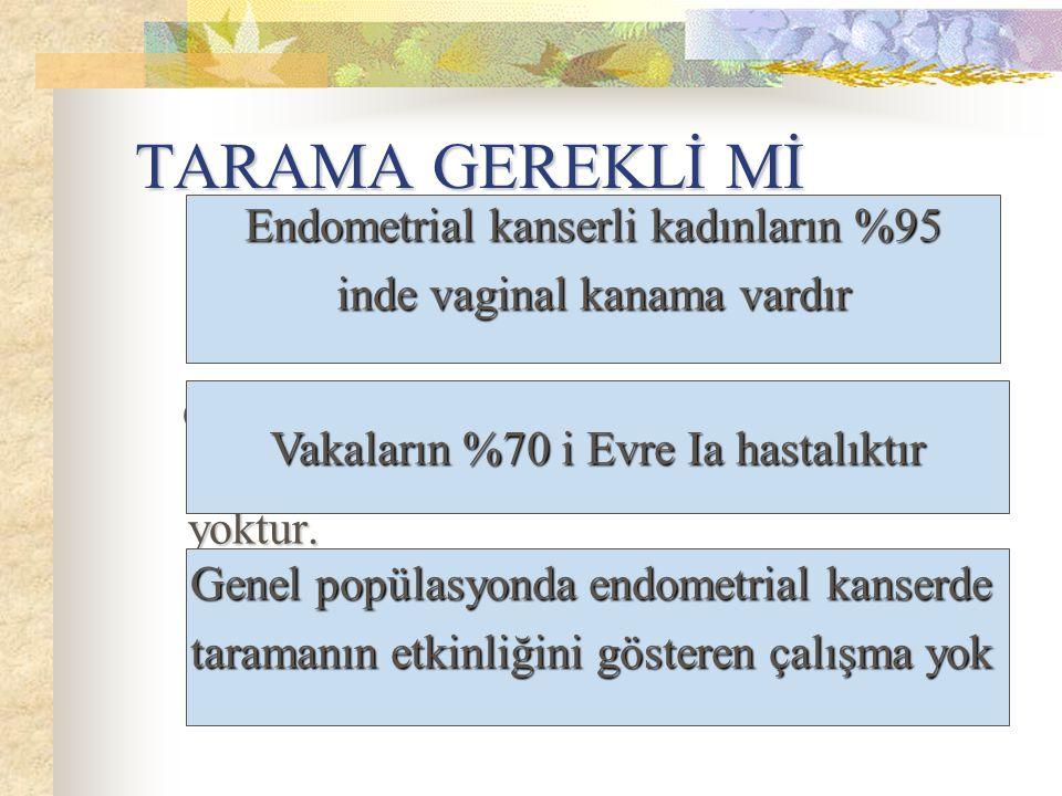 TARAMA GEREKLİ Mİ Genel popülasyonda endometrial kanserde taramanın etkinliğini gösteren çalışma yoktur. Genel popülasyonda endometrial kanserde taram