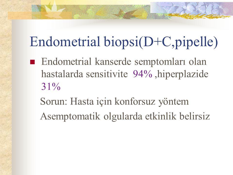 Endometrial biopsi(D+C,pipelle) Endometrial kanserde semptomları olan hastalarda sensitivite 94%,hiperplazide 31% Sorun: Hasta için konforsuz yöntem A