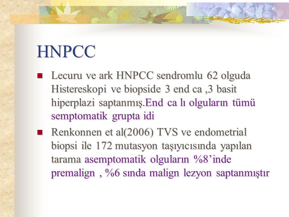 HNPCC Lecuru ve ark HNPCC sendromlu 62 olguda Histereskopi ve biopside 3 end ca,3 basit hiperplazi saptanmış.End ca lı olguların tümü semptomatik grup