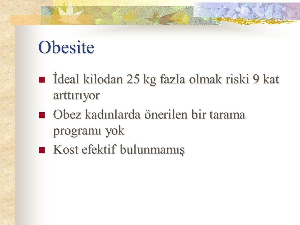 Obesite İdeal kilodan 25 kg fazla olmak riski 9 kat arttırıyor İdeal kilodan 25 kg fazla olmak riski 9 kat arttırıyor Obez kadınlarda önerilen bir tar