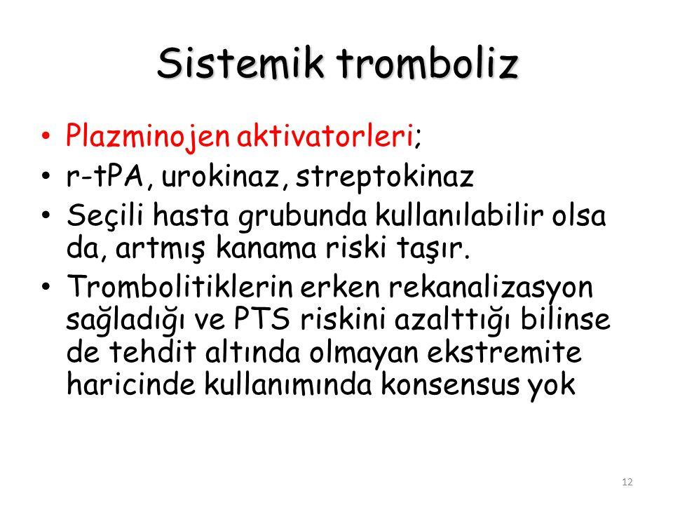 12 Sistemik tromboliz Plazminojen aktivatorleri; r-tPA, urokinaz, streptokinaz Seçili hasta grubunda kullanılabilir olsa da, artmış kanama riski taşır