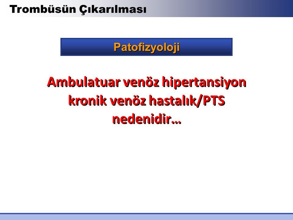 Patofizyoloji Trombüsün Çıkarılması Ambulatuar venöz hipertansiyon kronik venöz hastalık/PTS nedenidir…