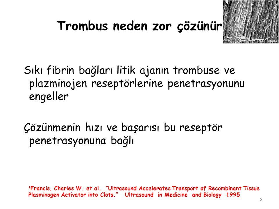 8 Trombus neden zor çözünür Sıkı fibrin bağları litik ajanın trombuse ve plazminojen reseptörlerine penetrasyonunu engeller Çözünmenin hızı ve başarıs