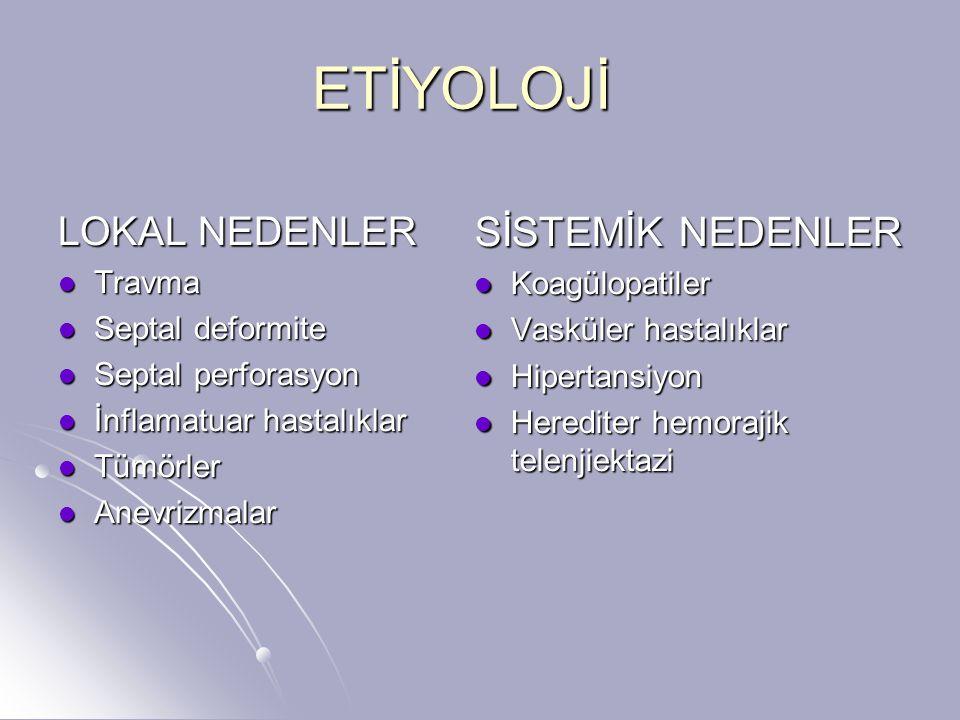 Travmatik nedenler Akut nazal travma Akut nazal travma İatrojenik: septorinoplasti, ESC, konka rezeksiyonu, nazal entübasyon İatrojenik: septorinoplasti, ESC, konka rezeksiyonu, nazal entübasyon Kronik nazal travma Kronik nazal travma Topikal stereoidler, kokain Topikal stereoidler, kokain
