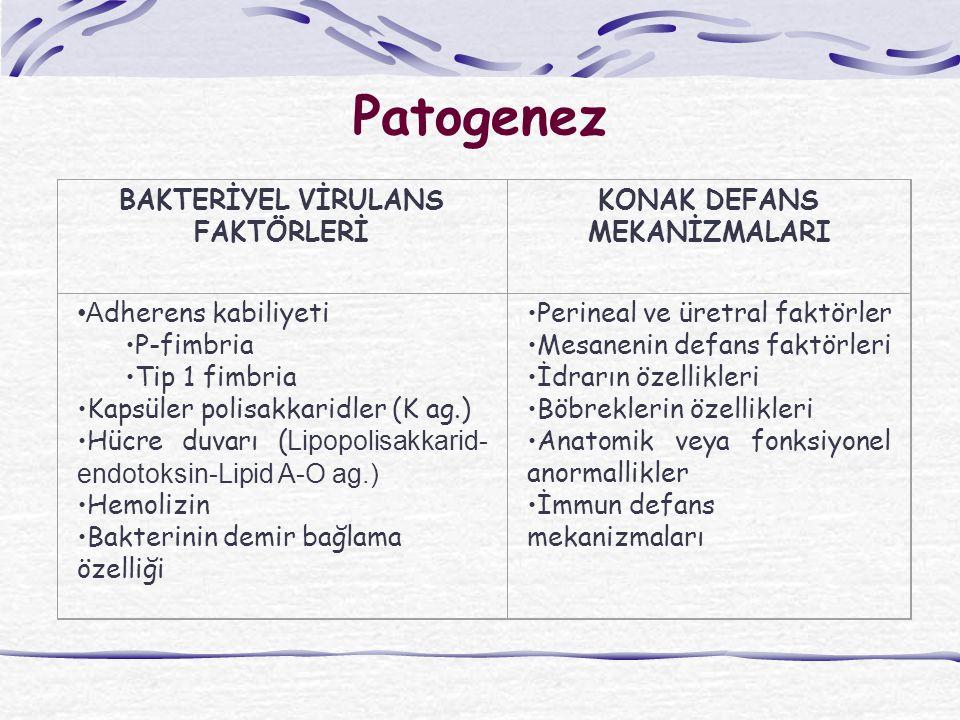 Patogenez BAKTERİYEL VİRULANS FAKTÖRLERİ KONAK DEFANS MEKANİZMALARI A dherens kabiliyeti P-fimbria Tip 1 fimbria Kapsüler polisakkaridler (K ag.) Hücre duvarı ( Lipopolisakkarid- endotoksin-Lipid A-O ag.) Hemolizin Bakterinin demir bağlama özelliği Perineal ve üretral faktörler Mesanenin defans faktörleri İdrarın özellikleri Böbreklerin özellikleri Anatomik veya fonksiyonel anormallikler İmmun defans mekanizmaları
