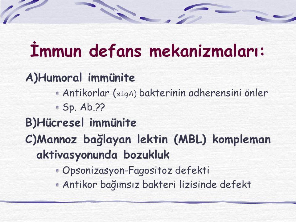 İmmun defans mekanizmaları: A)Humoral immünite Antikorlar ( sIgA) bakterinin adherensini önler Sp. Ab.?? B)Hücresel immünite C)Mannoz bağlayan lektin