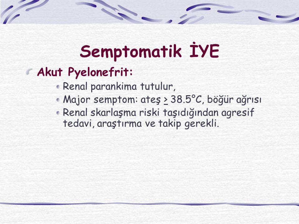 Semptomatik İYE Akut Pyelonefrit: Renal parankima tutulur, Major semptom: ateş > 38.5°C, böğür ağrısı Renal skarlaşma riski taşıdığından agresif tedavi, araştırma ve takip gerekli.