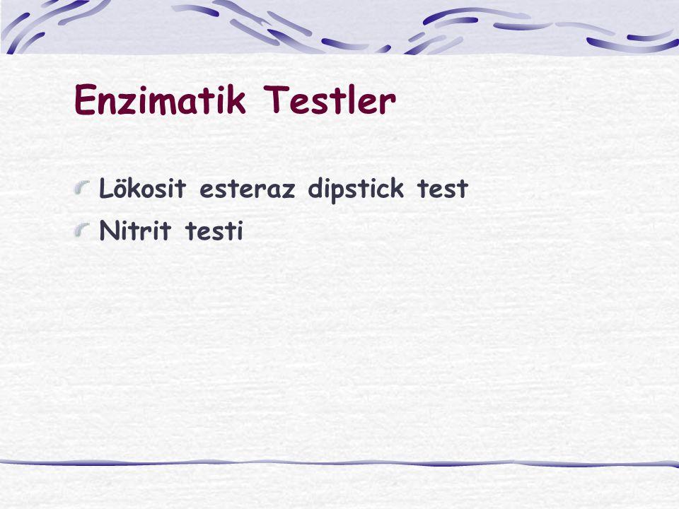 Enzimatik Testler Lökosit esteraz dipstick test Nitrit testi