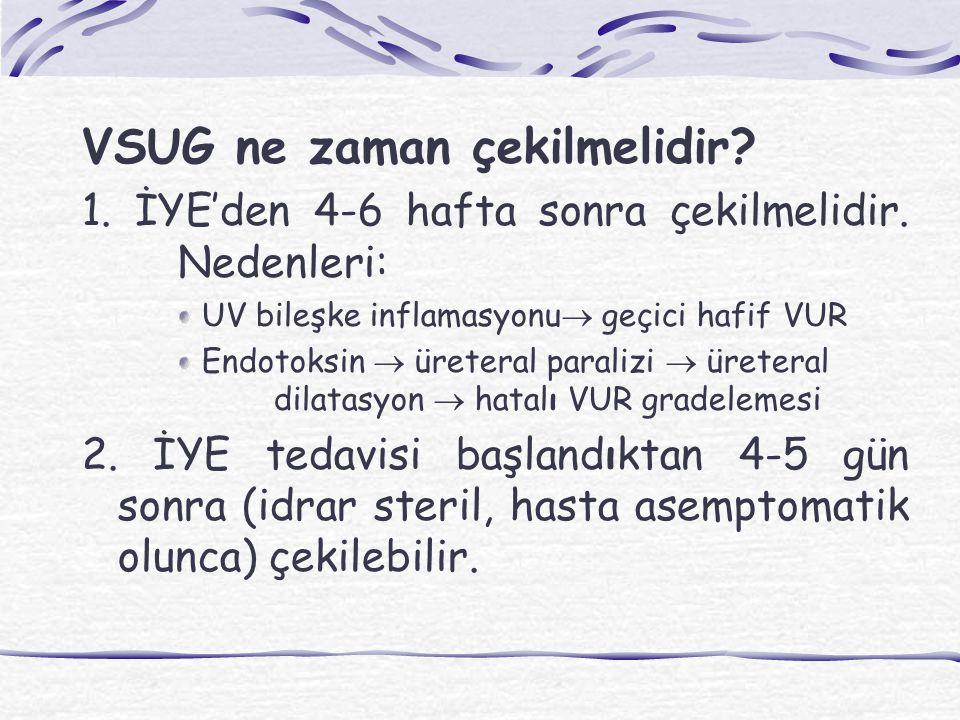 VSUG ne zaman çekilmelidir? 1. İYE'den 4-6 hafta sonra çekilmelidir. Nedenleri: UV bileşke inflamasyonu  geçici hafif VUR Endotoksin  üreteral paral