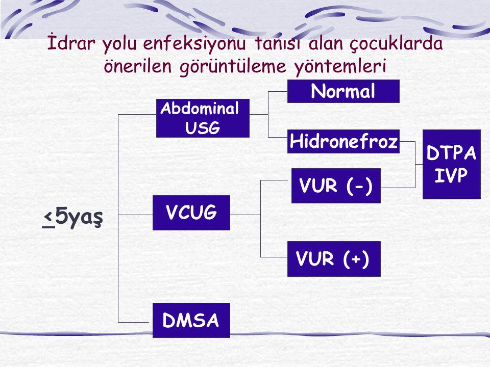 İdrar yolu enfeksiyonu tanısı alan çocuklarda önerilen görüntüleme yöntemleri <5yaş Abdominal USG VCUG DMSA VUR (-) VUR (+) Normal Hidronefroz DTPA IV