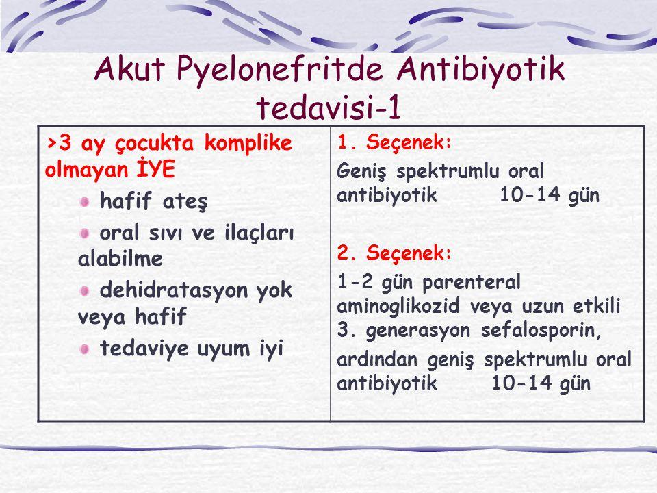 Akut Pyelonefritde Antibiyotik tedavisi-1 >3 ay çocukta komplike olmayan İYE hafif ateş oral sıvı ve ilaçları alabilme dehidratasyon yok veya hafif te