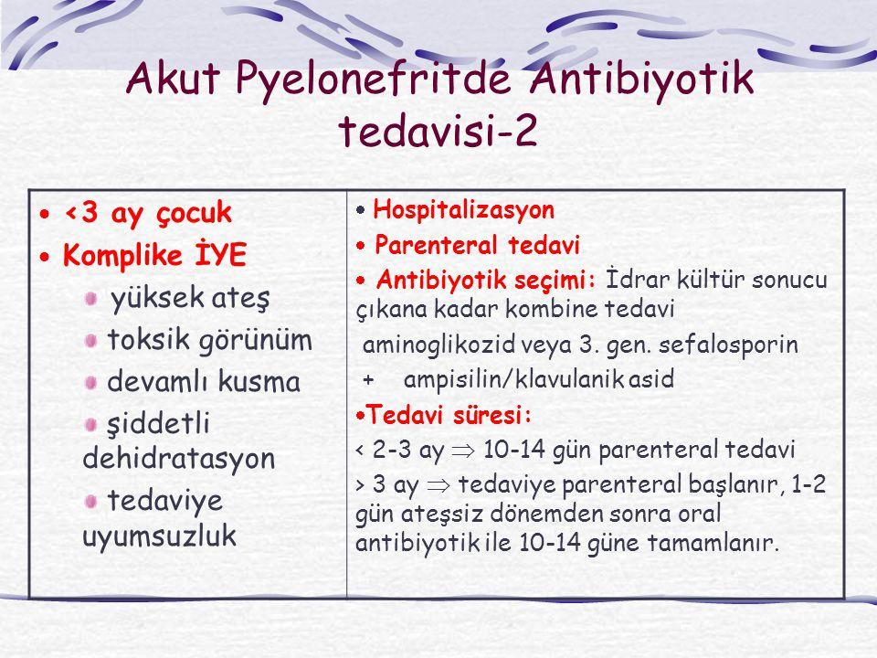 Akut Pyelonefritde Antibiyotik tedavisi-2  <3 ay çocuk  Komplike İYE yüksek ateş toksik görünüm devamlı kusma şiddetli dehidratasyon tedaviye uyumsuzluk  Hospitalizasyon  Parenteral tedavi  Antibiyotik seçimi: İdrar kültür sonucu çıkana kadar kombine tedavi aminoglikozid veya 3.