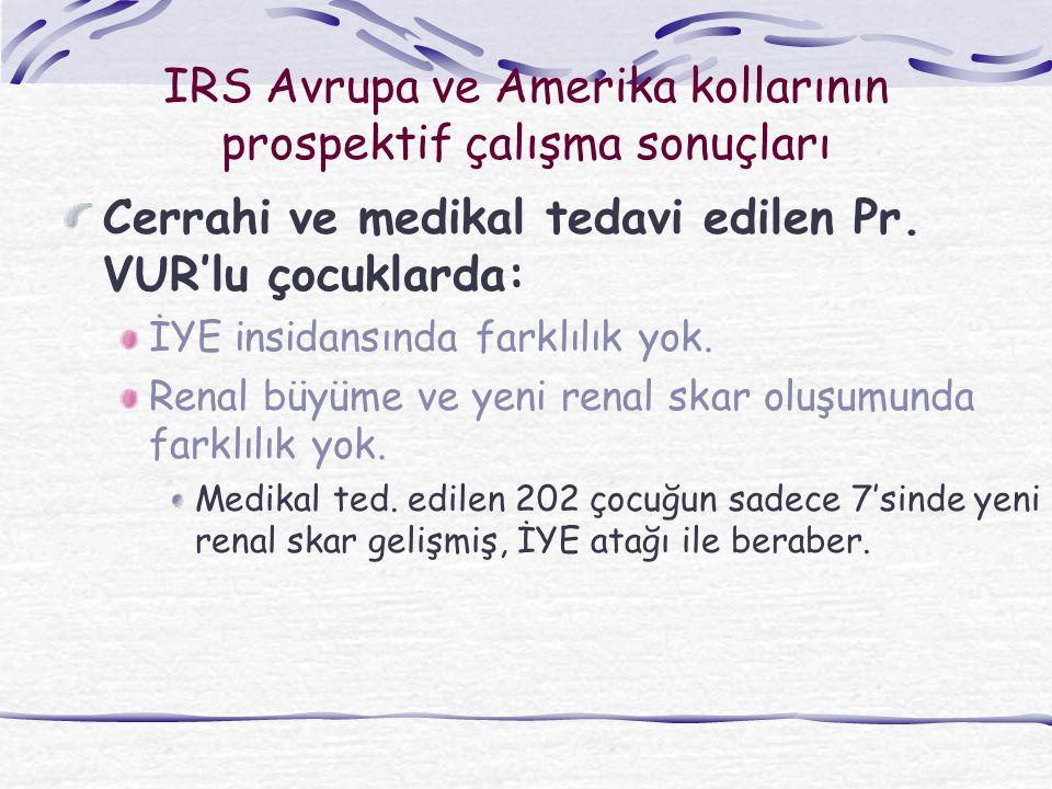 IRS Avrupa ve Amerika kollarının prospektif çalışma sonuçları Cerrahi ve medikal tedavi edilen Pr. VUR'lu çocuklarda: İYE insidansında farklılık yok.