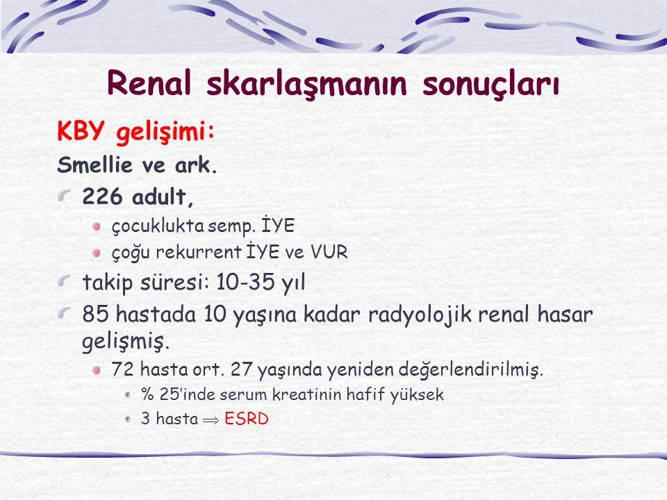 Renal skarlaşmanın sonuçları KBY gelişimi: Smellie ve ark.