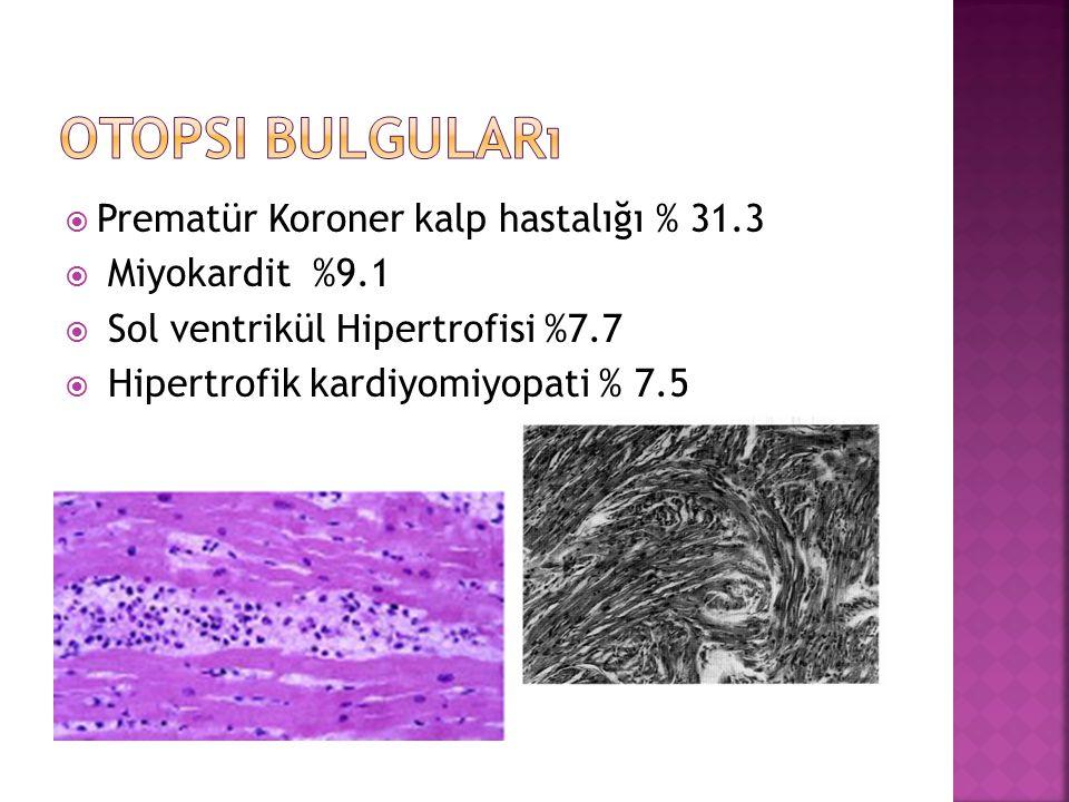  Prematür Koroner kalp hastalığı % 31.3  Miyokardit %9.1  Sol ventrikül Hipertrofisi %7.7  Hipertrofik kardiyomiyopati % 7.5