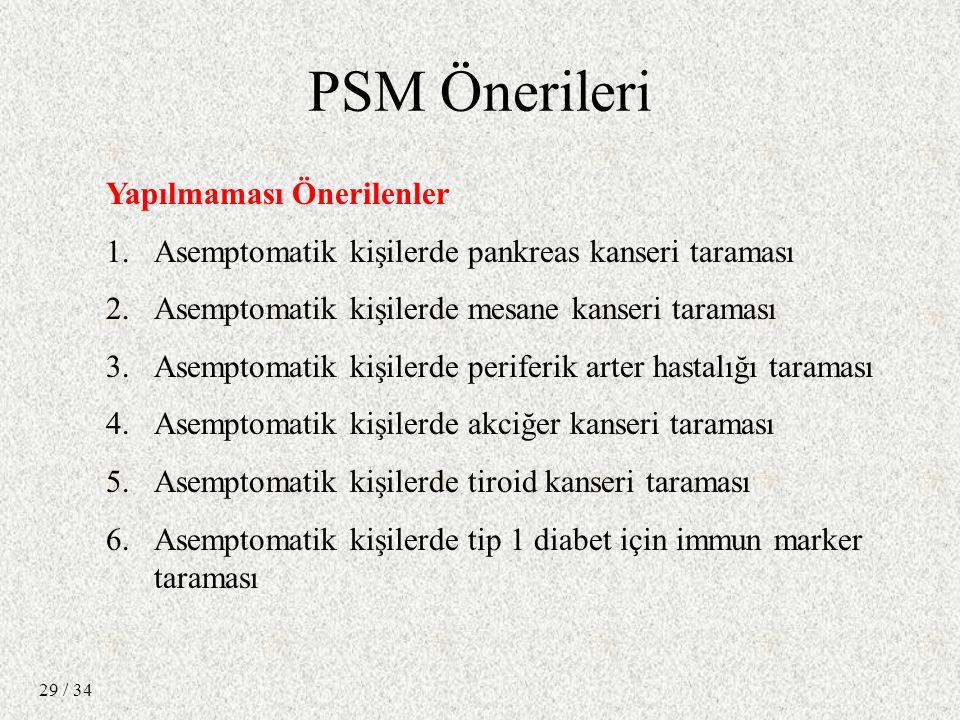 / 34 29 Yapılmaması Önerilenler 1.Asemptomatik kişilerde pankreas kanseri taraması 2.Asemptomatik kişilerde mesane kanseri taraması 3.Asemptomatik kişilerde periferik arter hastalığı taraması 4.Asemptomatik kişilerde akciğer kanseri taraması 5.Asemptomatik kişilerde tiroid kanseri taraması 6.Asemptomatik kişilerde tip 1 diabet için immun marker taraması PSM Önerileri