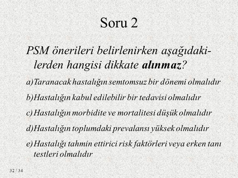 / 34 32 Soru 2 PSM önerileri belirlenirken aşağıdaki- lerden hangisi dikkate alınmaz.