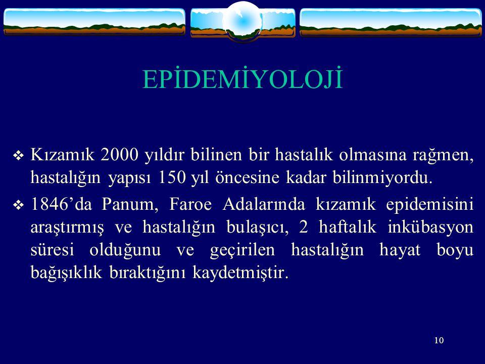 10 EPİDEMİYOLOJİ  Kızamık 2000 yıldır bilinen bir hastalık olmasına rağmen, hastalığın yapısı 150 yıl öncesine kadar bilinmiyordu.