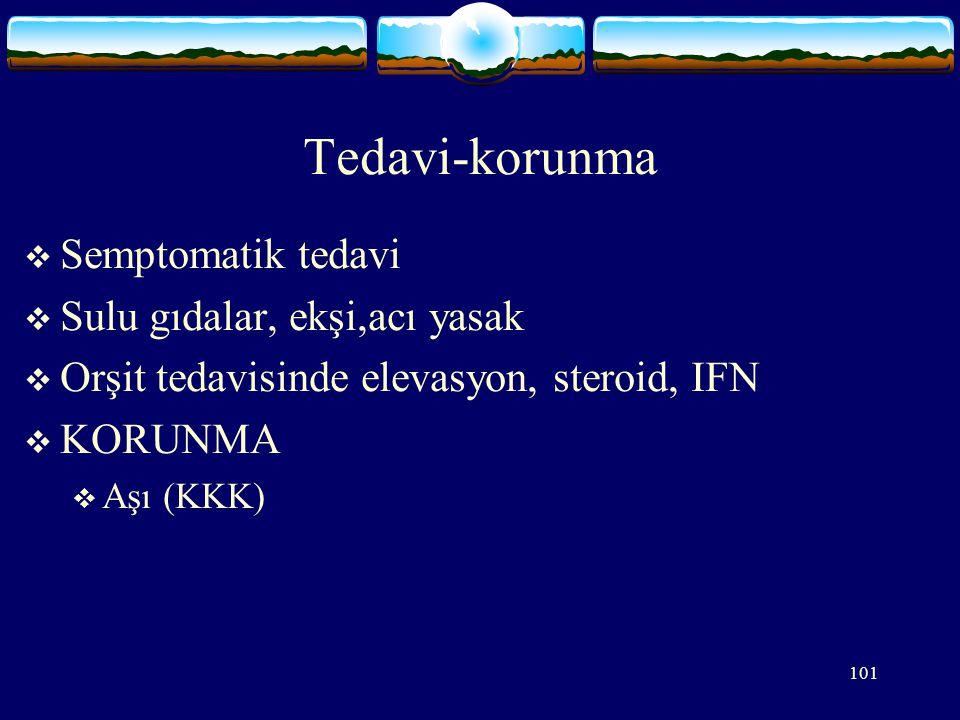 101 Tedavi-korunma  Semptomatik tedavi  Sulu gıdalar, ekşi,acı yasak  Orşit tedavisinde elevasyon, steroid, IFN  KORUNMA  Aşı (KKK)