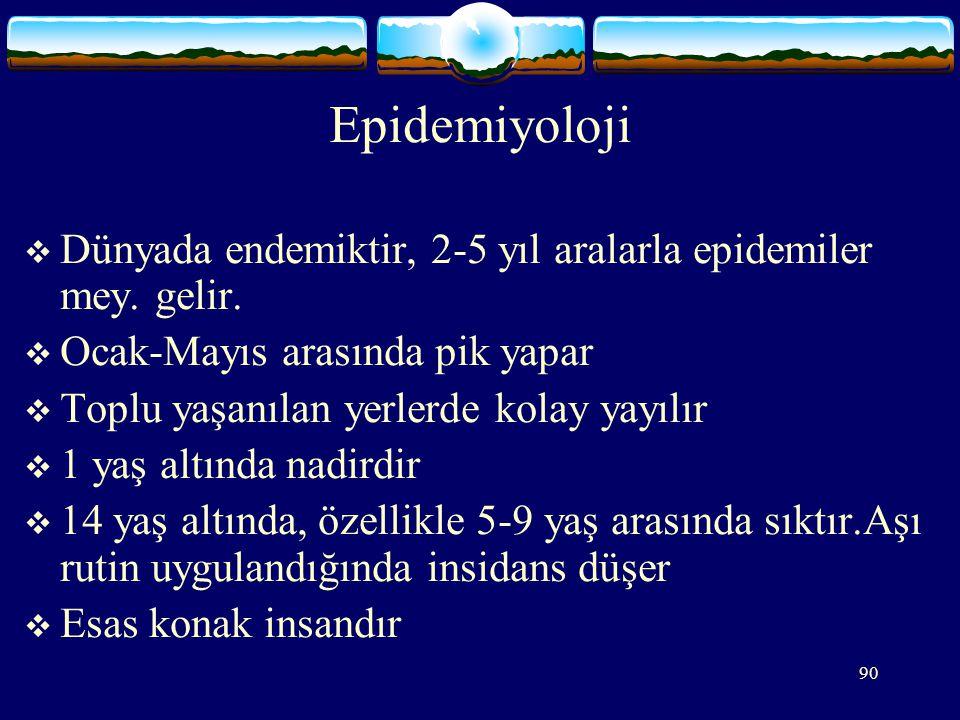 90 Epidemiyoloji  Dünyada endemiktir, 2-5 yıl aralarla epidemiler mey.