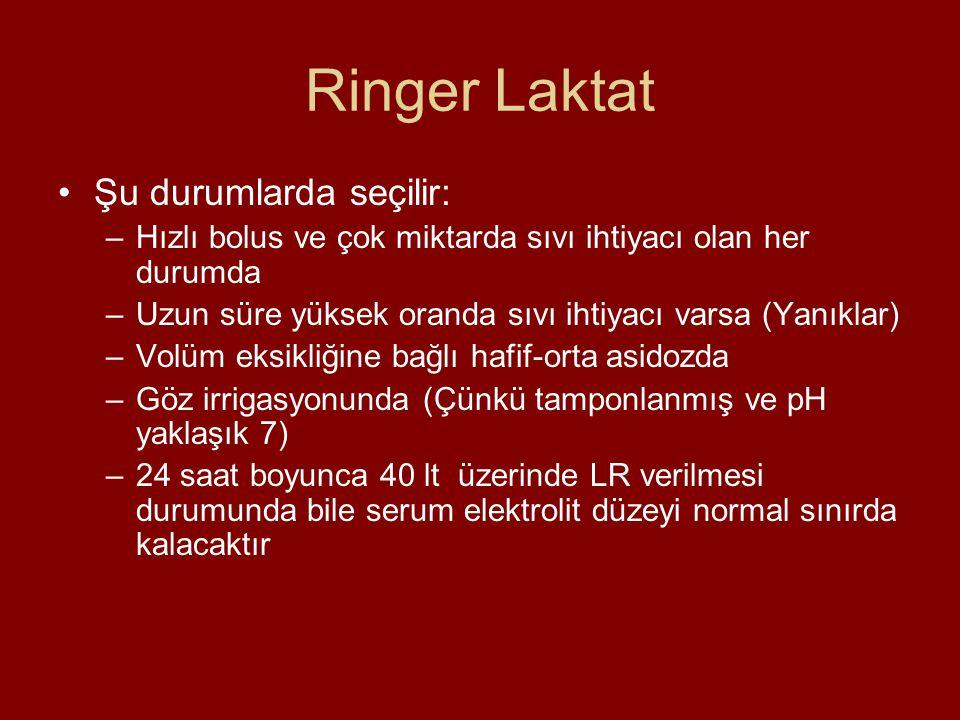 Ringer Laktat Şu durumlarda seçilir: –Hızlı bolus ve çok miktarda sıvı ihtiyacı olan her durumda –Uzun süre yüksek oranda sıvı ihtiyacı varsa (Yanıkla