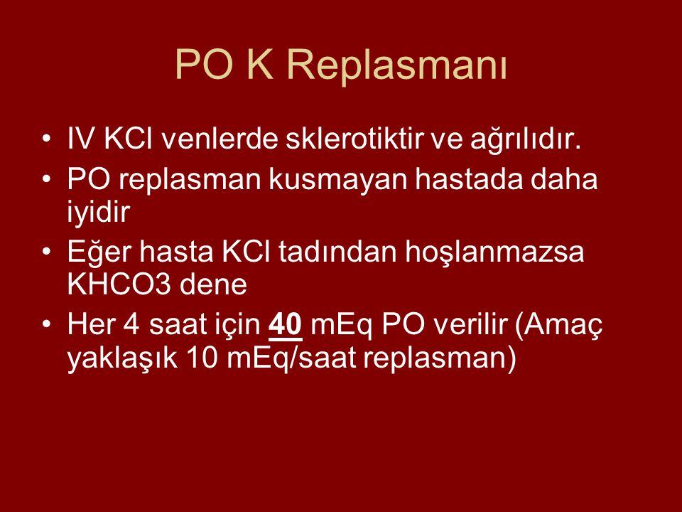 PO K Replasmanı IV KCl venlerde sklerotiktir ve ağrılıdır. PO replasman kusmayan hastada daha iyidir Eğer hasta KCl tadından hoşlanmazsa KHCO3 dene He