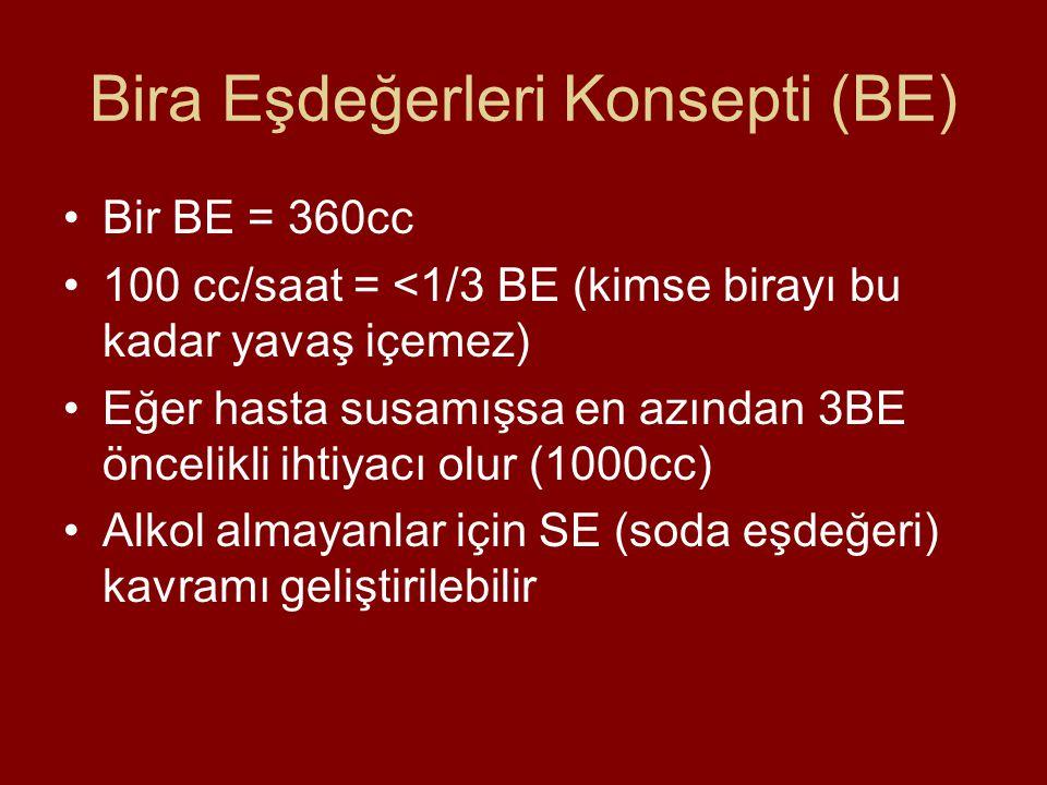 Bira Eşdeğerleri Konsepti (BE) Bir BE = 360cc 100 cc/saat = <1/3 BE (kimse birayı bu kadar yavaş içemez) Eğer hasta susamışsa en azından 3BE öncelikli ihtiyacı olur (1000cc) Alkol almayanlar için SE (soda eşdeğeri) kavramı geliştirilebilir
