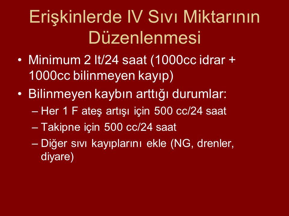 Erişkinlerde IV Sıvı Miktarının Düzenlenmesi Minimum 2 lt/24 saat (1000cc idrar + 1000cc bilinmeyen kayıp) Bilinmeyen kaybın arttığı durumlar: –Her 1