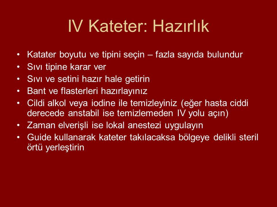 IV Kateter: Hazırlık Katater boyutu ve tipini seçin – fazla sayıda bulundur Sıvı tipine karar ver Sıvı ve setini hazır hale getirin Bant ve flasterler