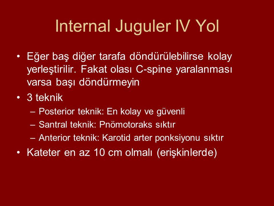 Internal Juguler IV Yol Eğer baş diğer tarafa döndürülebilirse kolay yerleştirilir. Fakat olası C-spine yaralanması varsa başı döndürmeyin 3 teknik –P