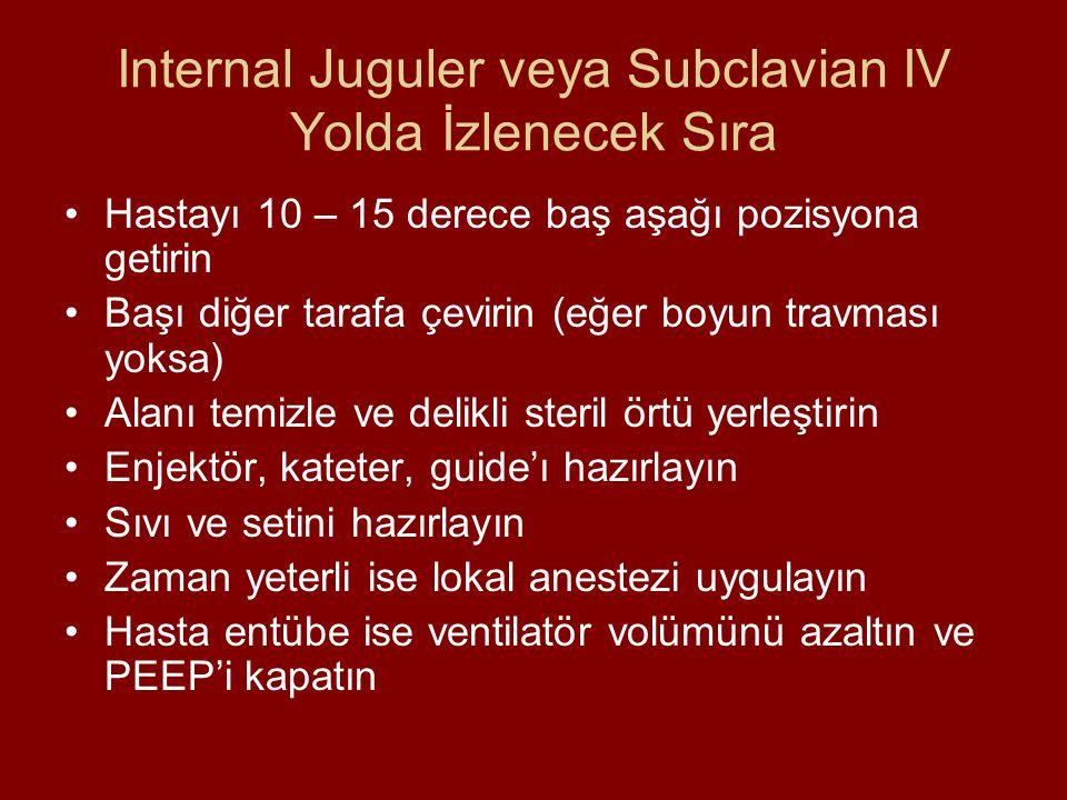 Internal Juguler veya Subclavian IV Yolda İzlenecek Sıra Hastayı 10 – 15 derece baş aşağı pozisyona getirin Başı diğer tarafa çevirin (eğer boyun trav