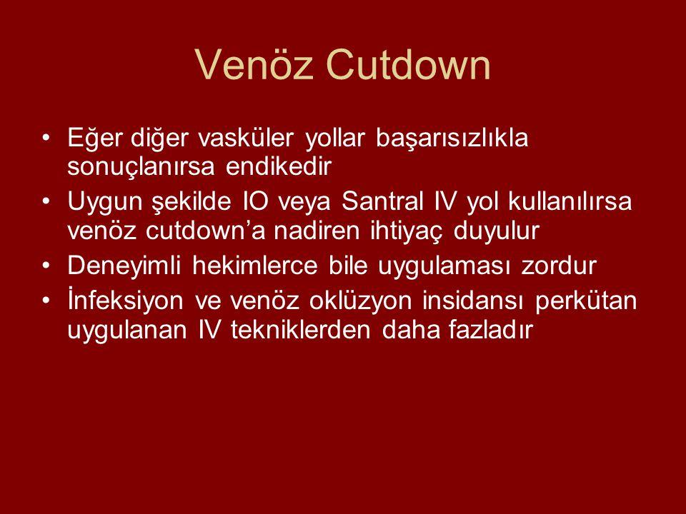 Venöz Cutdown Eğer diğer vasküler yollar başarısızlıkla sonuçlanırsa endikedir Uygun şekilde IO veya Santral IV yol kullanılırsa venöz cutdown'a nadir
