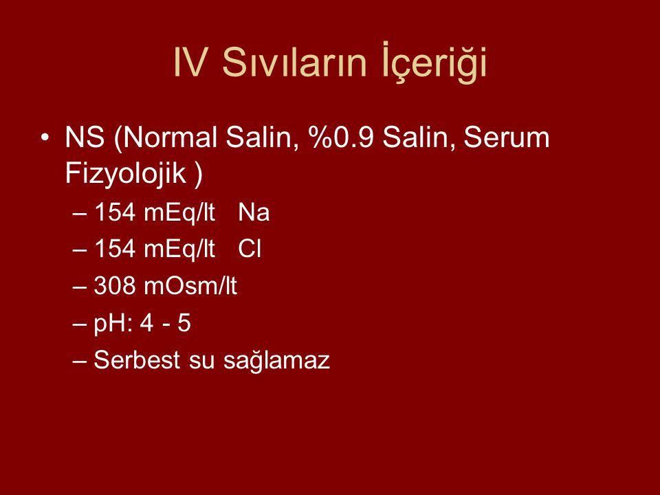 IV Sıvıların İçeriği NS (Normal Salin, %0.9 Salin, Serum Fizyolojik ) –154 mEq/lt Na –154 mEq/lt Cl –308 mOsm/lt –pH: 4 - 5 –Serbest su sağlamaz