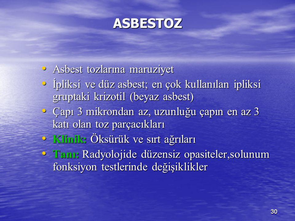 30 ASBESTOZ Asbest tozlarına maruziyet Asbest tozlarına maruziyet İpliksi ve düz asbest; en çok kullanılan ipliksi gruptaki krizotil (beyaz asbest) İp