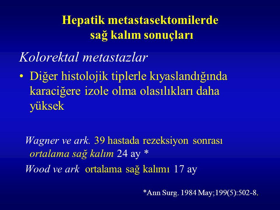 Hepatik metastasektomilerde sağ kalım sonuçları Kolorektal metastazlar Diğer histolojik tiplerle kıyaslandığında karaciğere izole olma olasılıkları da