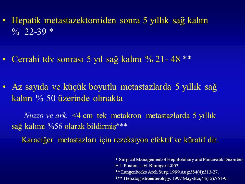 Hepatik metastazektomiden sonra 5 yıllık sağ kalım % 22-39 * Cerrahi tdv sonrası 5 yıl sağ kalım % 21- 48 ** Az sayıda ve küçük boyutlu metastazlarda